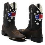 Bota Texana Masculina Touro do Texas em Couro Legítimo Bico Quadrado Solado Preto