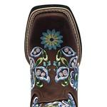 Bota Texana Feminina em Couro Legítimo Bordado Floral Azul