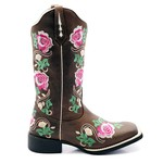Bota Texana Feminina Hopper Floral Bico Quadrado