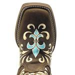 Bota Texana Feminina Hopper em Couro Legítimo Bordado Lírio Azul Solado Marrom