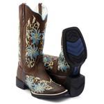Bota Texana Feminina Hopper em Couro Legítimo Cano Alto Azul