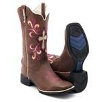 Bota Texana Feminina Hopper Bordada Pink em Couro Legítimo