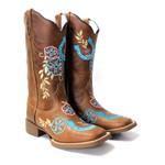 Bota Texana Hopper Cano Alto Couro Crazy Horse Café Ferradura Azul Solado Marrom Bico Quadrado