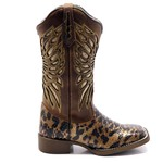 Bota Texana Feminina em Couro Legítimo Bico Quadrado Laser Cobra
