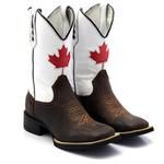 Bota Texana Masculina Couro Legítimo Bovino Canadá Bico Quadrado