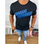 Camiseta Armani Preto com logo azul