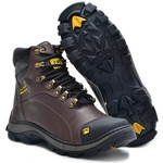 Bota Caterpillar 2160 - Café Liso + Chinelo Cat Amarelo