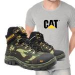 Bota Caterpillar R-2061 - Camuflada + Camiseta Cinza Cat