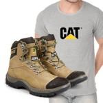 Bota Caterpillar 2061 - Milho + Camiseta Cinza Cat