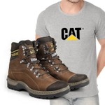 Bota Caterpillar 2061 - Ferrugem + Camiseta Cat