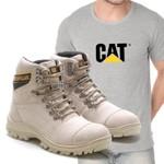 Bota Caterpillar 2061 - Nude + Camiseta Cinza Cat