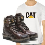 Bota Caterpillar 2061 - Castanho + Camiseta Branca Cat