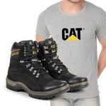 Bota Caterpillar 2061 - Preto + Camiseta Cinza Cat