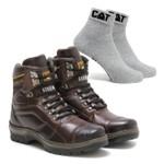 Bota Caterpillar 2061 - Castanho + Meia Cat Cinza
