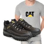 Tênis Caterpillar 2085 - Café + Camiseta Cinza Cat