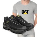 Tênis Caterpillar 2085 - Preto + Camiseta Cinza Cat