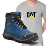 Bota Caterpillar 2160 Azul + Camiseta Cinza Cat