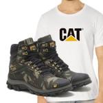 Bota Caterpillar 2160 - Camuflada + Camiseta Branca Cat