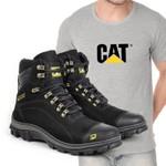 Bota Caterpillar 2160 - Preto + Camiseta Cinza Cat