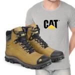 Bota Caterpillar 2160 - Milho + Camiseta Cat