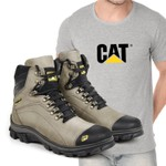 Bota Caterpillar 2160 - Cinza + Camiseta Cinza Cat