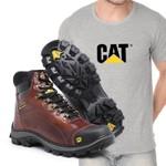 Bota Caterpillar 2160 - Castanho + Camiseta Cinza Cat