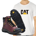 Bota Caterpillar 2160 - Vinho Liso + Camiseta Branca Cat