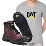 Bota Caterpillar 2160 - Vinho Liso + Camiseta Cinza Cat