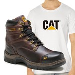 Bota Caterpillar 2189 Castanho + Camiseta Branca CAT