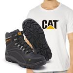 Bota Caterpillar 9820 - Preto Liso + Camiseta Cat