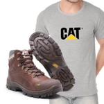 Bota Caterpillar 9820 - Chocolate + Camiseta Cinza Cat