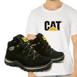 Bota Adventure CAT Experience - Preto + Camiseta Branca Cat