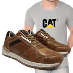 Tênis Caterpillar Woodward Cevada + Camiseta Cinza Cat