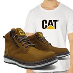 Bota Caterpillar Zip One Osso + Camiseta Branca Cat