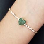 Pulseira Gravatinha Zircônia Coração Dourado Verde