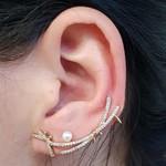 Conjunto Ear Cuff Libélula Dourado