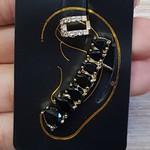 Kit De Brinco Ear Cuff e Piercing Fake Dourado Preto