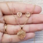 Conjunto Coração Dourado Champanhe
