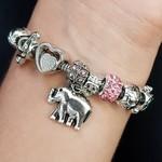 Pulseira Pandora Elefante Prata Rosa