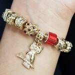 Pulseira Pandora Coruja Dourado Vermelho