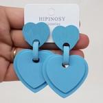 Brinco Grande Madeira Coração Azul
