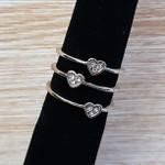 Trio De Anéis Coração Prata