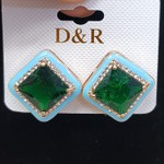Brinco Ponteira Pedra Fusion Dourado Azul Claro e Verde