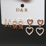 Kit De Brincos Coração Dourado
