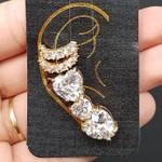 Kit De Brinco Ear Cuff e Piercings Fakes Zircônia Coração Dourado Branco