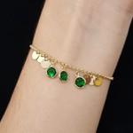 Pulseira Gravatinha Folheada Dourada Verde