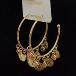Argola Pingentes De Medalhas Dourado Rosa