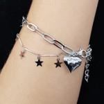 Pulseira Coração e Estrelas Prata
