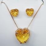 Conjunto Zircônia Coração Dourado Amarelo