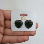 Brinco Pedra Fusion Coração Grafite Verde